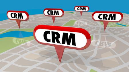 CRM Customer Relationship Management Map Pins Word 3d Render Illustration