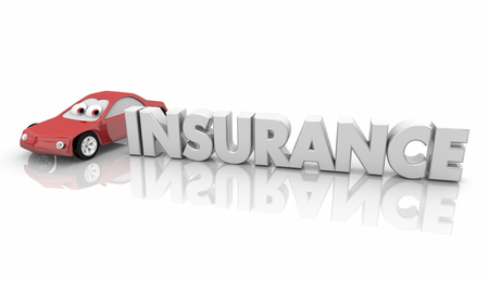 Insurance Car Vehicle Insured Automobile Word 3d Render Illustration