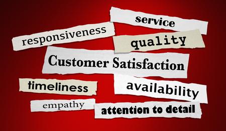 Satisfacción del cliente Servicio de calidad Titulares satisfechos Ilustración de render 3d