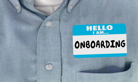 Hello I Am Onboarding New Employee Nametag 3d Render Illustration Stock Photo