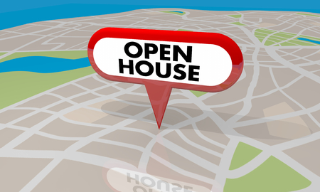 Open House Pin Map Home for Sale 3d Render Illustration