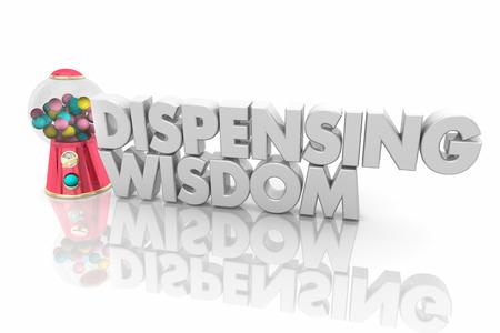 Dispensing Wisdom Gum Ball Machine Help Advice 3d Render Illustration