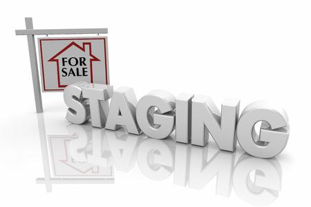 Home Staging House in vendita Open House Service 3d Render Illustration Archivio Fotografico