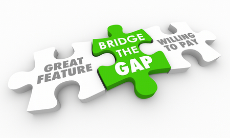 Bridge Gap Between Great Feature Willing Pay Puzzle 3d Render Illustration Stock Photo