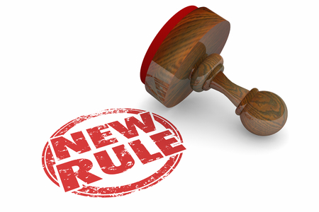 New Rule Stamped Ruling Law Regulation 3d Illustration