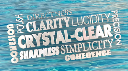 Crystal Clear Clarity Concise Communication Word Collage 3d Illustration Stockfoto - 103412126