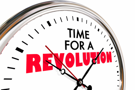 Time for a Revolution Big Change Disruption Clock 3d Illustration
