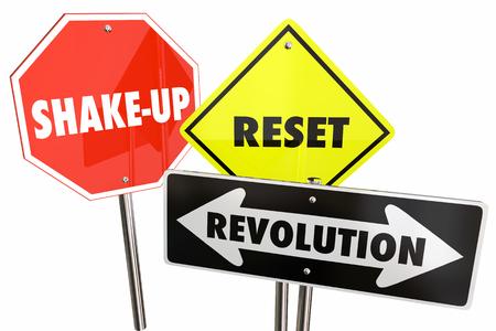 Revolution Reset Big Change Road Signs 3d Illustration Stock Photo