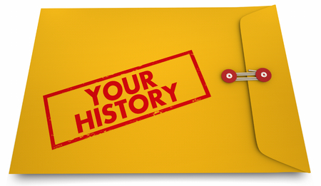 Your History Personal Documents Past Records Envelope Stamp 3d Illustration