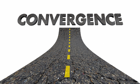 Convergence Road Word Coming Together 3d Illustration