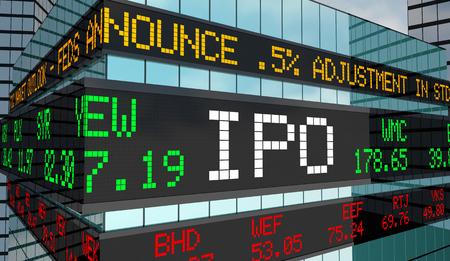 IPO eerste privéaanbieding Stock Market Ticker Building 3d illustratie Stockfoto - 103798370