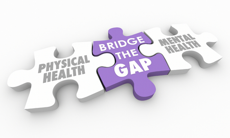 Mental Physical Health Bridge the Gap Puzzle Pieces 3d Illustration
