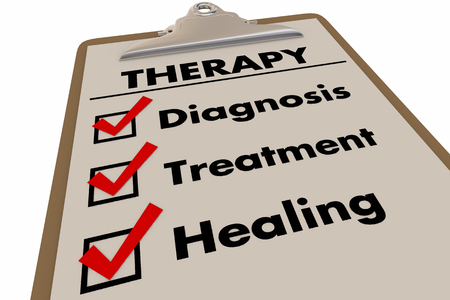 Therapy Checklist Diagnosis Treatment Healing 3d Illustration Stock Photo