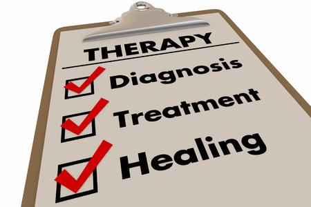 Therapy Checklist Diagnosis Treatment Healing 3d Illustration Foto de archivo