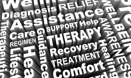 Therapy Treatment Help Healing Words 3d Render Illustration