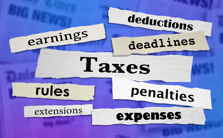 Taxes Headlines Earnings Income Tax Rate News Headlines 3d Illustration Stock Photo