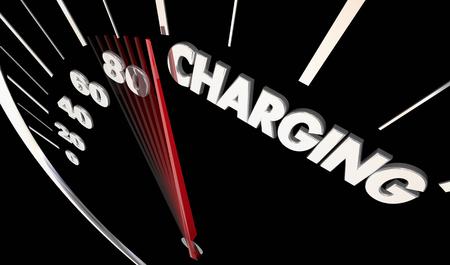 Charging Electric Hybrid Car Auto Vehicle Speedometer Word 3d Illustration Stok Fotoğraf