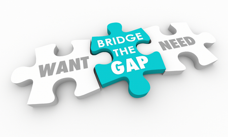 Want Vs Need Bridge the Gap Puzzle Pieces 3d Illustration Foto de archivo - 104231616