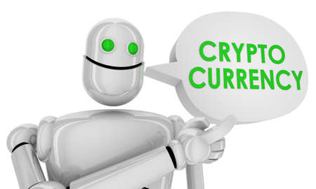 Crypto Currency Robot Speech Bubble Bitcoin 3d Illustration Zdjęcie Seryjne