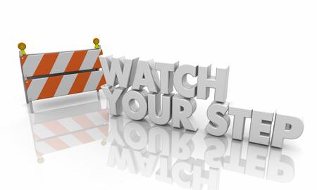 Watch Your Step Barricade Warning Avoid Risk 3d Illustration Stok Fotoğraf