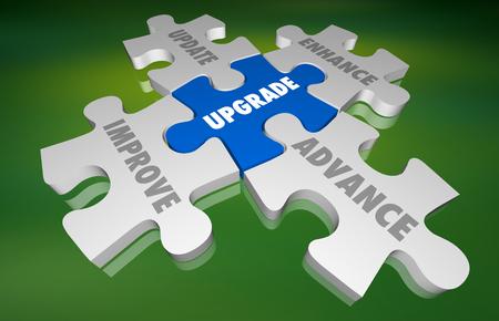 Upgrade Update Improve New Modernize Puzzle 3d Illustration 스톡 콘텐츠