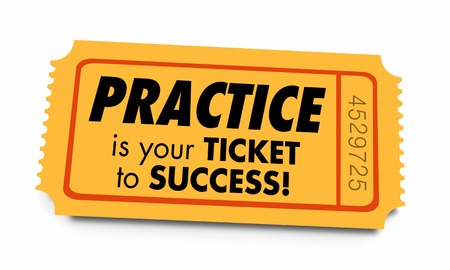 Practice Ticket to Success Prepared Preparation 3d Illustration Archivio Fotografico - 105484124