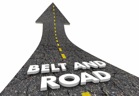 Belt and Road Chinese Growth Initiative Road Words 3d Illustration