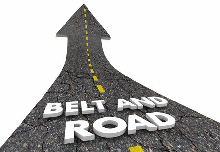 Belt and Road Iniciativa de crecimiento chino Road Words Ilustración 3d