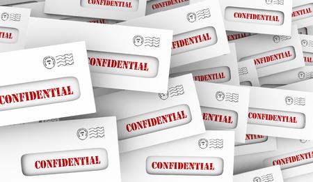 Confidential Secret Classified Information Envelopes 3d Illustration