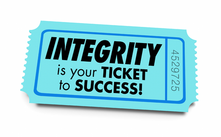 Integrity Ticket to Success Honesty Reputation 3d Illustration Stockfoto