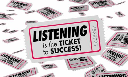 Listening Hearing Understanding Ticket Success 3d Illustration