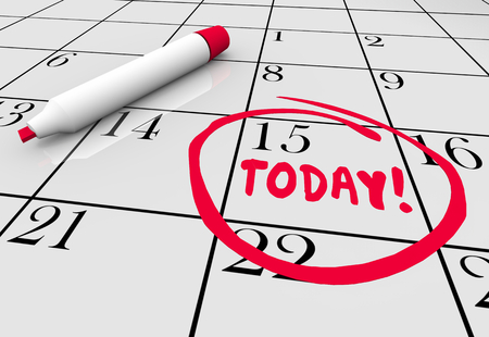 Today Now Urgent Deadline Day Circled Calendar Date 3d Illustration 스톡 콘텐츠