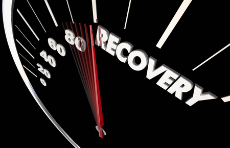 Recovery Get Better Healing Restored Speedometer Word 3d Illustration Stock fotó - 105717188