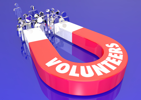 Volunteers Helping Assist Worthy Cause Magnet Pulling People 3d Illustration Stock Photo