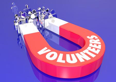 Volunteers Helping Assist Worthy Cause Magnet Pulling People 3d Illustration Imagens