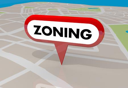 Ordonnance de zonage zones de construction carte broche illustration 3d