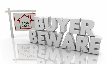 Buyer Beware Warning Home House for Sale Sign 3d Illustration Zdjęcie Seryjne