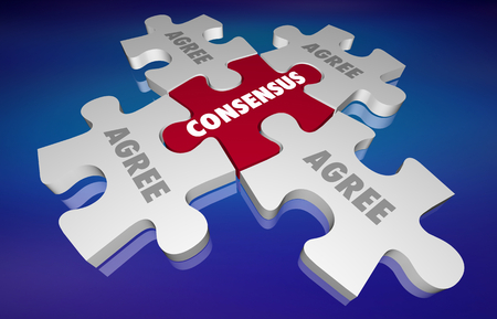 Consensus Agreement All Sides Unity Puzzle 3d Illustration Reklamní fotografie - 105721531