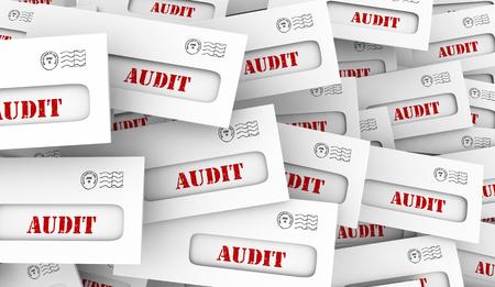 Audit Notice Letters Financial Tax Documents Envelopes 3d Illustration Stock fotó