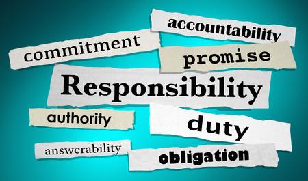 Responsibility Duty Obligtation Headlines 3d Illustration