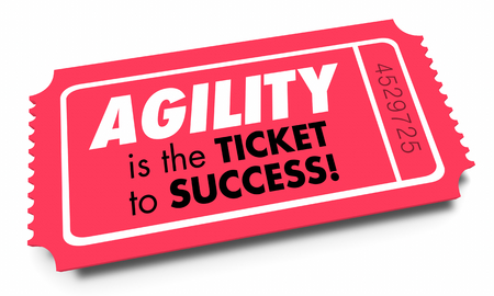 Agility Ticket to Success Quick Fast Responsive 3d Illustration Archivio Fotografico - 105834920