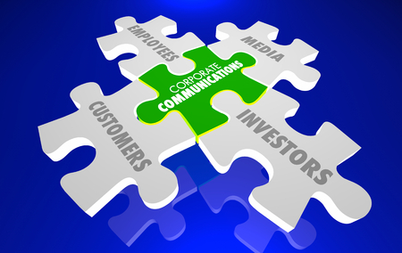 Corporate Communications Marketing PR Puzzle 3d Illustration
