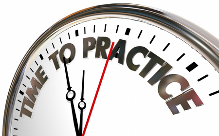 Time to Practice Get Ready Do Drills Words Clock 3d Illustration Foto de archivo - 105842130