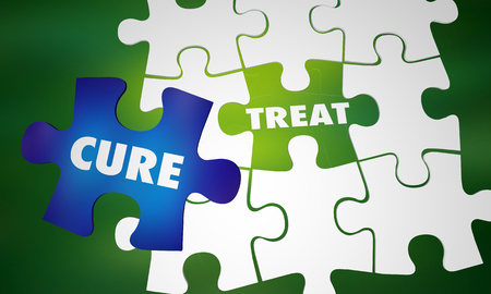 Treat Vs Cure Disorder Disease Condition Puzzle Words 3d Illustration