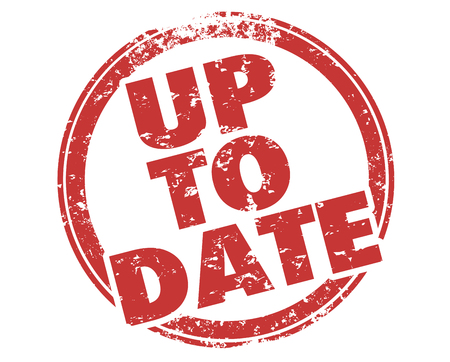 Up to Date Updated Current New Info Words Stamp Illustration Stock fotó
