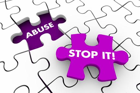 Abuse Violence Mistreatment Stop It Puzzle Pieces 3d Illustration Stock Photo