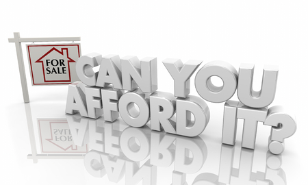 Can You Afford It New Home House for Sale Sign 3d Illustration Stockfoto