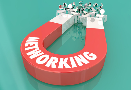 Networking Connecions Meeting Magnet Pulling People 3d Illustration.jpg Imagens