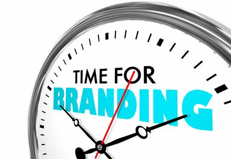 Time for Branding Marketing Identity Clock Words 3d Illustration Stockfoto