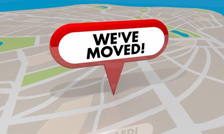 Weve Moved Nueva Ubicación Punto Área Mapa Pin Palabra Ilustración 3d Foto de archivo